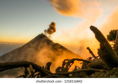 Erupting Fuego Volcano Guatemala  at sunset