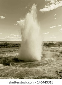 Erupting geysers - Iceland (stylised retro)