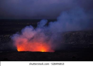 Erupting Kilauea Volcano in Big Island Hawaii