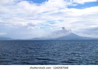 Erupting Sakurajima-volcano in Kagoshima Japan