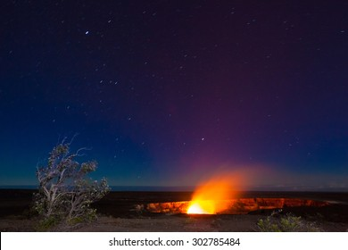 Erupting volcano in Hawaii Volcanoes National Park, Big Island, Hawaii. Night photos with long exposure.