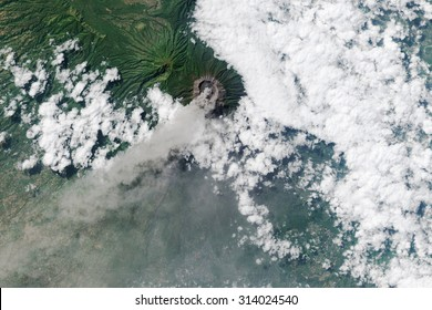 Erupting Volcano seen from space.  Some graphics are provided by NASA.