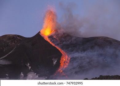 Eruption Of Etna Volcano February 2017 In Sicily