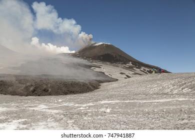 Eruption Of Etna Volcano March 2017 In Sicily  - Shutterstock ID 747941887