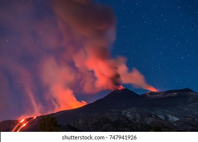 Eruption Of Etna Volcano March 2017 In Sicily