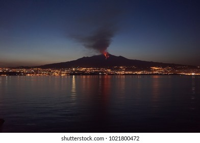 Eruption of Etna volcano, the photo is made from the board of a ship.