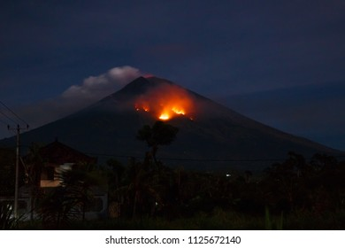 Eruption with lave of volcano Agung in Bali, Indonesia