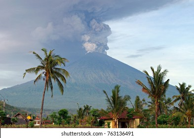 Eruption of Mt. Agung volcano in east Bali, Indonesia