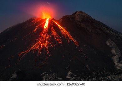 Eruption Volcano Etna, Sicily