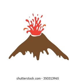 eruption of a volcano, logo illustration