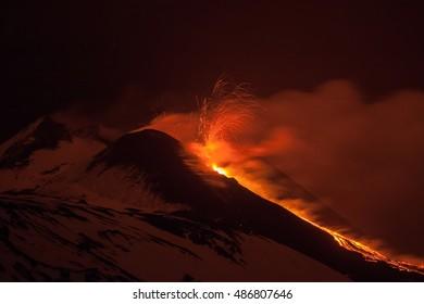Eruption of the volcano Mount Etna