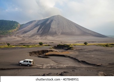 The eruption of the volcano Yasur on Tanna Island, Vanuatu