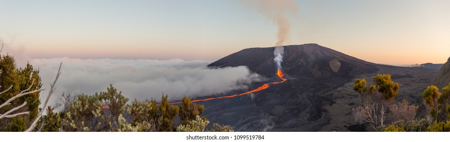 "Eruption of the vulcano ""Piton de la fournaise"" at the island of ""La Reunion"" on September 16th 2016 during dusk"