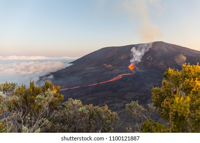 "Eruption of the vulcano ""Piton de la fournaise"" at the island of ""La Reunion"" on September 16th 2016 during sunset (wide angle)"