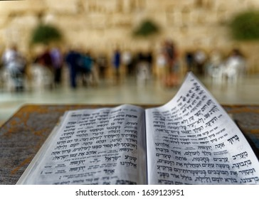 erusalem Israel July 02 2017 - Hebrew letters by the  Western Wall at night