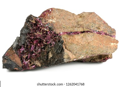 erythrite (red cobalt) from Bou Azzer, Morocco isolated on white background
