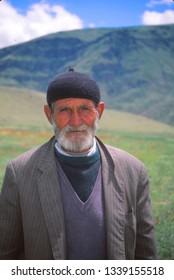 ERZERUM, TURKEY - MAY 19, 1999 - Portrait of old Turkish man in meadow near Erzerum,Turkey