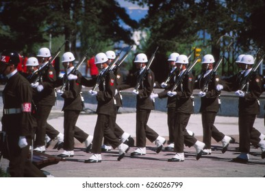 ERZERUM, TURKEY - MAY 19, 1999 - Military honor guard parades at Turkish Independence day celebrations, in Erzerum, Turkey.