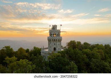 Erzsebet lookout tower in Budapest Normafa hill. Famous attraction in Budapest's hills. Spledid old tower built in 1910.