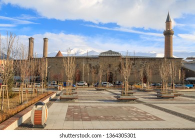At Erzurum old city, Turkey - April 7, 2019: Erzurum Ulu Cami (mosque) from erzurum park view in Erzurum, Turkey