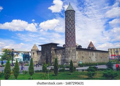 Erzurum, Turkey September-2018: Yakutia madrasa, city of Erzurum Historical Erzurum Yakutiye Madrasa. Seljuk and Ottoman period university. Turkish Islamic Art and Ethnography Museum