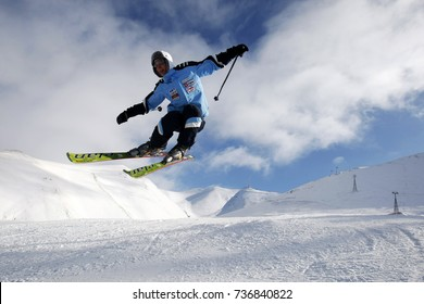 Erzurum,Turkey - January 10 2011 : floating skier in the mountains
