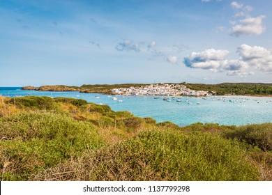 Es Grau Village on Minorca Island eastern shore, Balearic Islands, Spain.