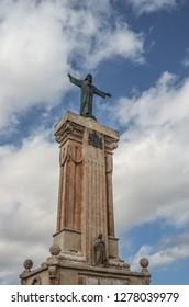 Es Mercadal, Spain - September 21 2016: Statue of Christ on El Toro hill, in Menorca, Spain