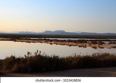 Es Trenc, Majorca / Spain - August 25, 2016: Salines de Llevant near Es Trenc, Mallorca, Balearic Islands, Spain.