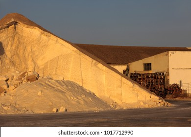 Es Trenc, Majorca / Spain - August 25, 2016: A sea salt hill in the Salines de Llevant near Es Trenc, Mallorca, Balearic Islands, Spain.