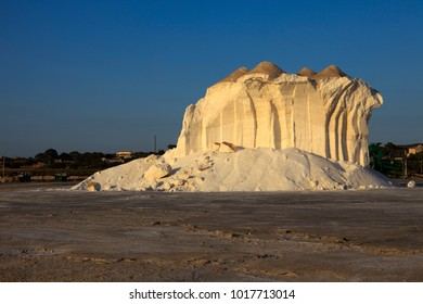 Es Trenc, Majorca / Spain - August 25, 2016: A sea salt hill in the Salines de Llevant near Es Trenc, Mallorca, Balearic Islands, Spain.