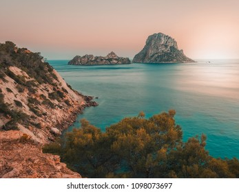 Es Vedra area, Ibiza, Spain. Aerial view at sunset, the Mediterranean sea and the islets of Es Vedra and Es vedranell