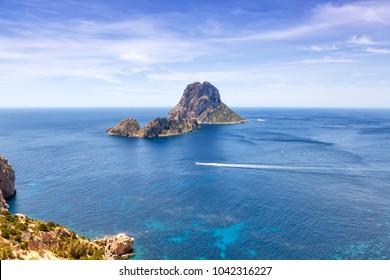 Es Vedra rock Ibiza island Spain travel Mediterranean Sea boat vacation traveling