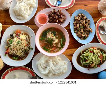 E-San food. Thai style have somtam puprara, tomyam,lab moo. It's so delicious. And it's really Thaifood style.