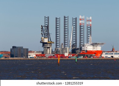Esbjerg, Denmark, Jan 9. 2019. Oil rig in harbor. The city af Esbjerg on the Danish west coast is an off shore oil industri center.