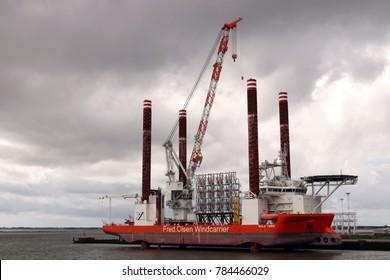 ESBJERG, DENMARK - JULE 28, 2017: Ship Olsen Windcarrier in Esbjerg Harbor, Denmark. Ship is used for installing wind turbines off-shores.
