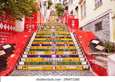 Escadaria Selaron famous public steps of artist Jorge Selaron in Rio de Janeiro, Brazil.