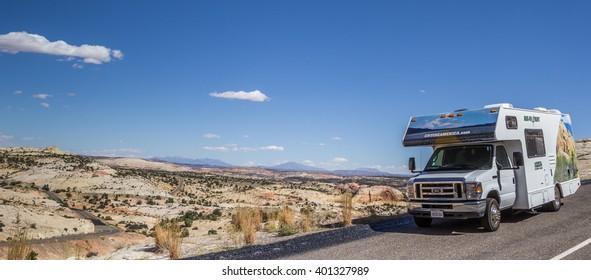 ESCALANTE, USA - OCTOBER 2, 2015: Panorama of an RV along highway 12 in Utah, USA