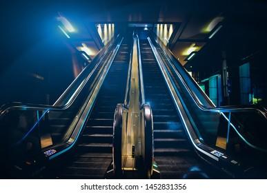 Escalator in the Antwerp trainstation in Belguim Europe