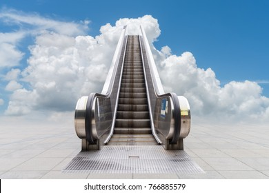 escalator to the blue sky , concept of rising way to success or heaven
