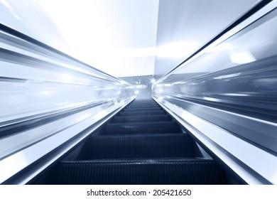 Escalator fast run in metro station