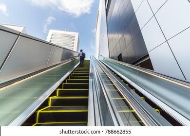 Escalator installed outdoors