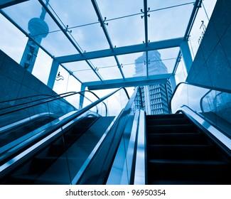 escalator ,interior of the shanghai pudong airport .
