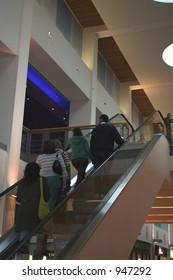 Escalator in a modern shopping complex.