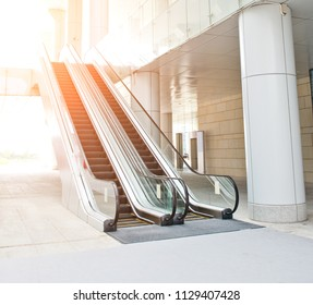 escalator in new modern building.