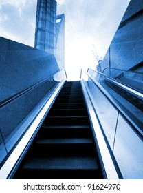 escalator in the outdoor under the sun, urban abstract landscape