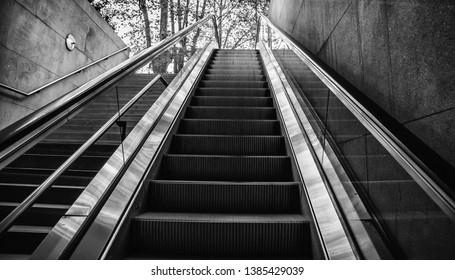 Escalator for people, transport detail in interior