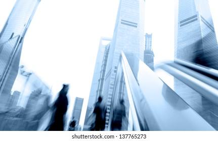 Escalator in Shanghai streets, blur motion.