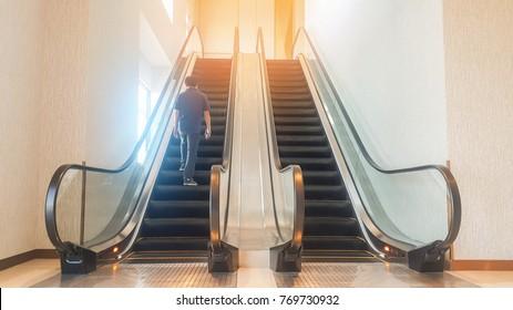 Escalator in shoping center.