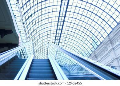 Escalator in shopping center, Moscow, GUM, Russia